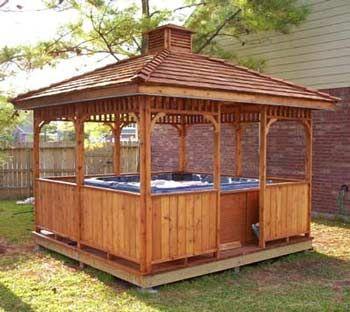 1000 images about hot tub enclosures on pinterest for Hot tub shelter plans
