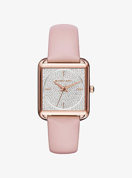 Lake Pave Rose Gold-Tone And Leather Watch