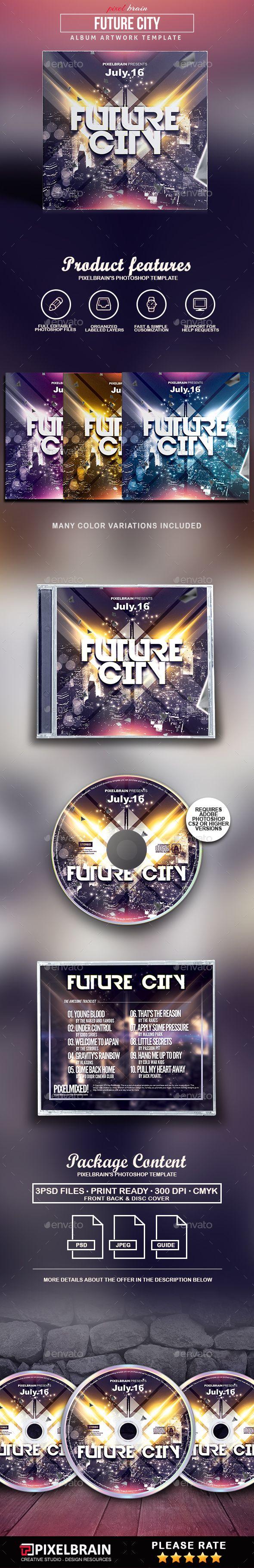 Future City CD Cover Artwork - #CD & DVD #Artwork Print Templates Download here: https://graphicriver.net/item/future-city-cd-cover-artwork/19535592?ref=alena994