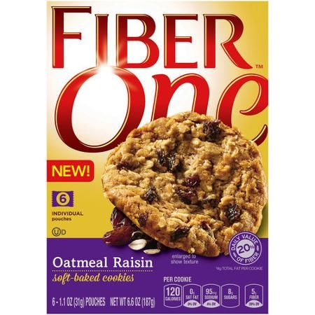 Fiber One Oatmeal Raisin Soft Baked Cookies, 1.1 oz, 6 count