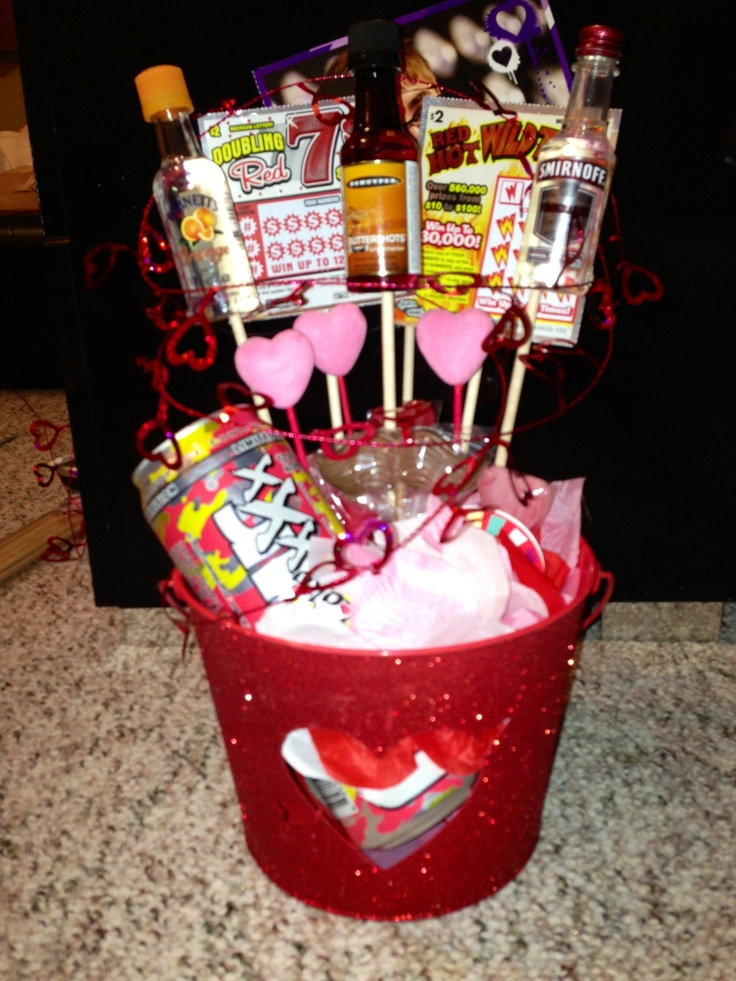 Valentines Gift For Guys! Alcohol, Lottery, And Chocolate. What More Could  They