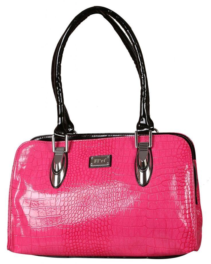 Fuschia Pink Shiny  Polyurethane Handbag