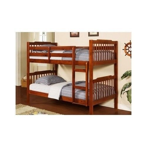 solid wood bunk bed set kids teens youth students 2 twin beds wooden mahogany