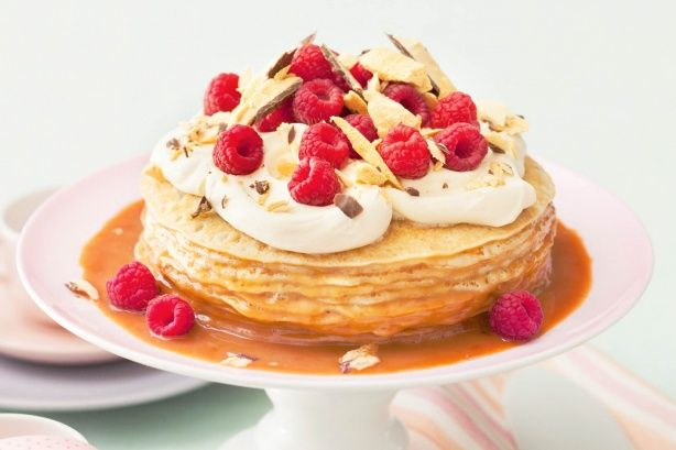 This magnificent crepe cake will be the centrepiece of your family celebration or dinner party. It is easily assembled using a few shortcut ingredients and ready to serve in just 25 minutes. No cooking required!