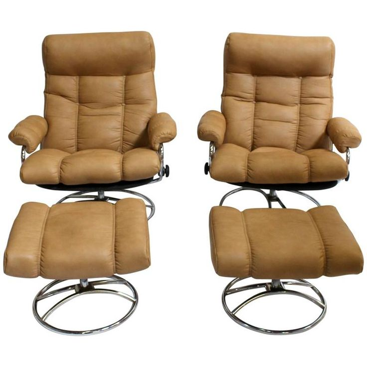 Sofa Pillows Mid Century Reclining Chair and Ottoman by Ekornes Stressless