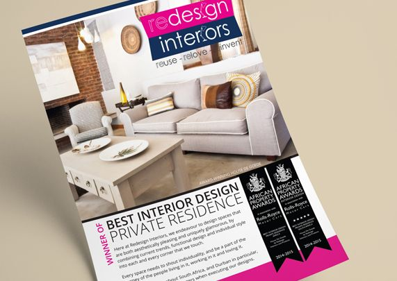 Flyer for Redesign Interiors by Rubio Communications