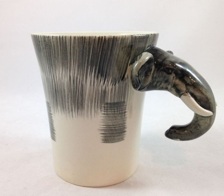 Pier 1 Imports Elephant Coffee Mug 3-D Handpainted Elephant Handle Wildlife 16oz #Pier1Imports