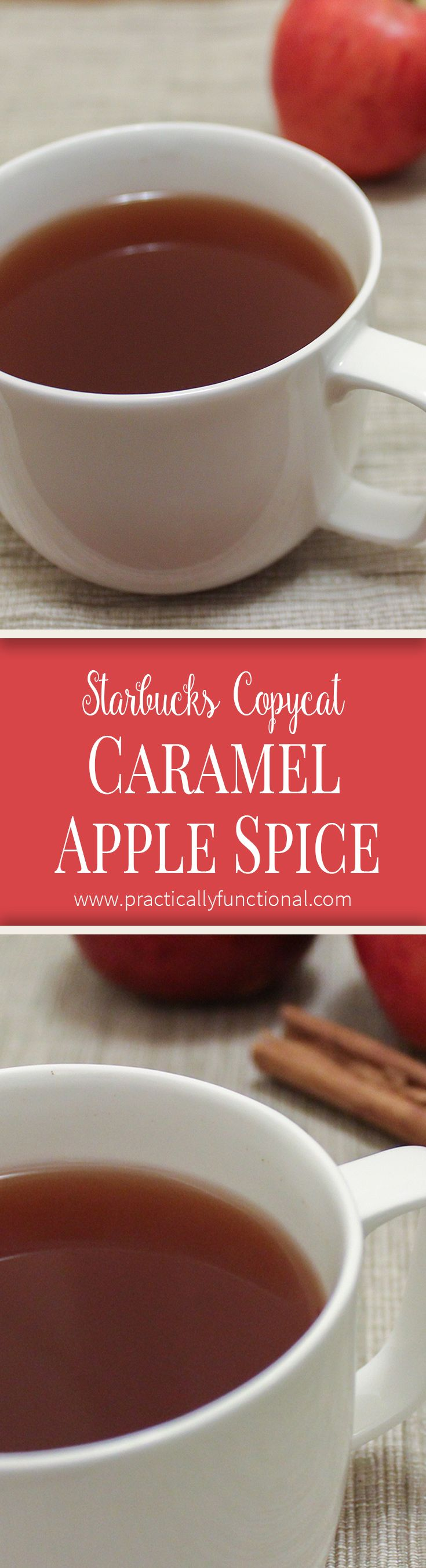 Make your own Starbucks copycat Caramel Apple Spice at home in your slow cooker! Perfect fall drink, and so easy to make! practicallyfunctional.com