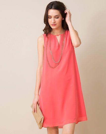 Robe housse rose en soie avec collier Sophia