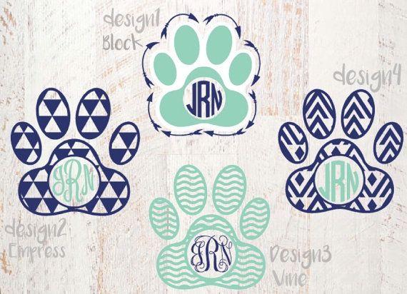Paw Print Monogram Decal Paw Print Decal Aztec by JamsVinylDesigns