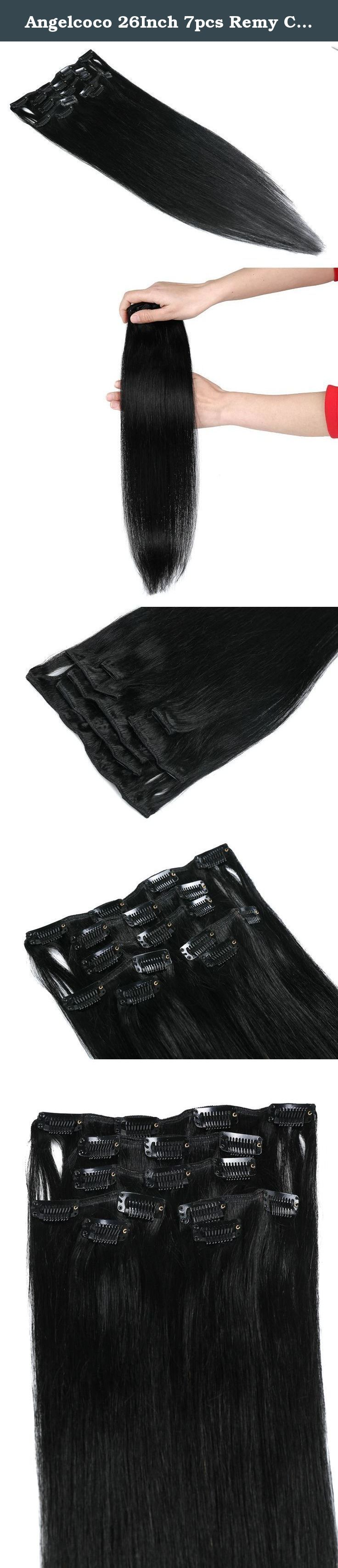 Angelcoco 26Inch 7pcs Remy Clips In Human Hair Extensions 120g With Clips For Highlight Or Full Head (26inch 7pcs, #1 Jet Black). How to attach and remove How to attach: 1. Open the clip on your hair extensions by holding the top section and gently pulling backwards by placing finger on each end of the clip. 2. Locate the area where you want to insert. Using a brush or comb or your fingers, part your hair and lift the section up and pin or clip it out of the way. Slide the clip into place…