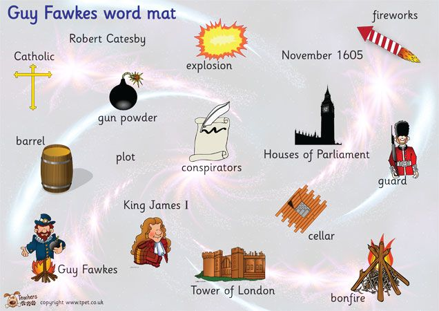 Teacher's Pet Displays » Guy Fawkes word mat » FREE downloadable EYFS, KS1, KS2 classroom display and teaching aid resources » A Sparklebox alternative