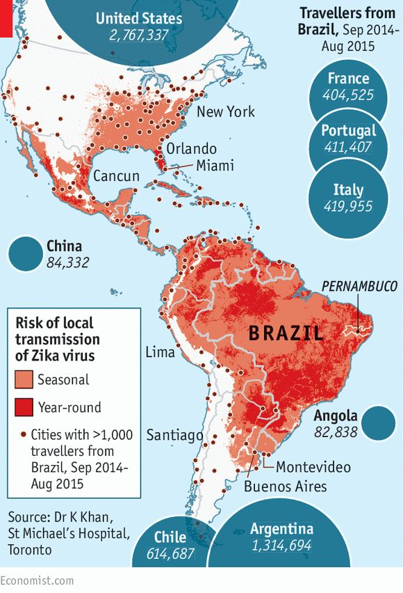 """A newly emerging disease is threatening the Americas.... Until October, [the mosquito-borne virus] Zika was not thought much of a threat: only a fifth of infected people fall ill, usually with just mild fever, rash, joint aches and red eyes. Since then, though, evidence has been piling up that it may cause birth defects in children and neurological problems in adults."""