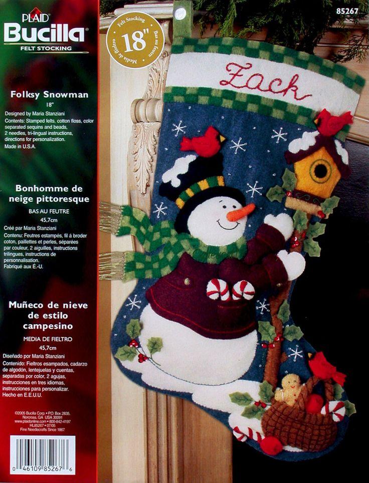 "Bucilla ""Folksy Snowan"" Felt Stocking Kit NEW Más"