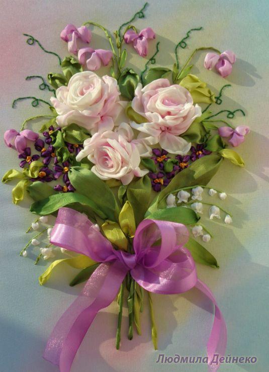 Gallery.ru / Букет с ландышами и фиалками - Любимые розы - silkfantasy