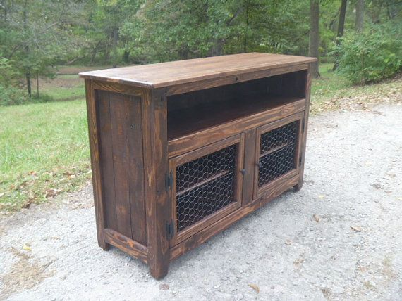 Rustic Pallet TV stand chicken wire doors by UpTheCreekRustic