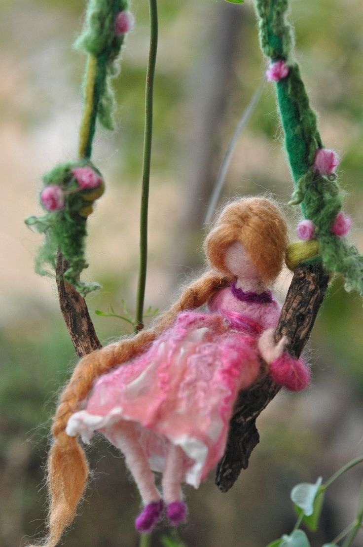 Needle felted Waldorf Wool mobile-Girl in a pink dress- doll- needle felt by Daria Lvovsky-Made for custom order. $58.00, via Etsy.