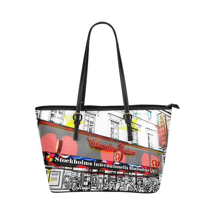 'Stockholm Filmfest' themed leather tote bag @artsadd  - A pop-art style design inspired from a photo taken while visiting Stockholm in Sweden. #fashion #accessories #leatherbags #totebags #bags #style #stylishbags #vogue #moviestar #movies #filmfestival #stockholm #sweden #pink #carryall #posh #2017trends #newstyle #artsadd #artsaddbags #onlineshopping #shopping #movietheatre