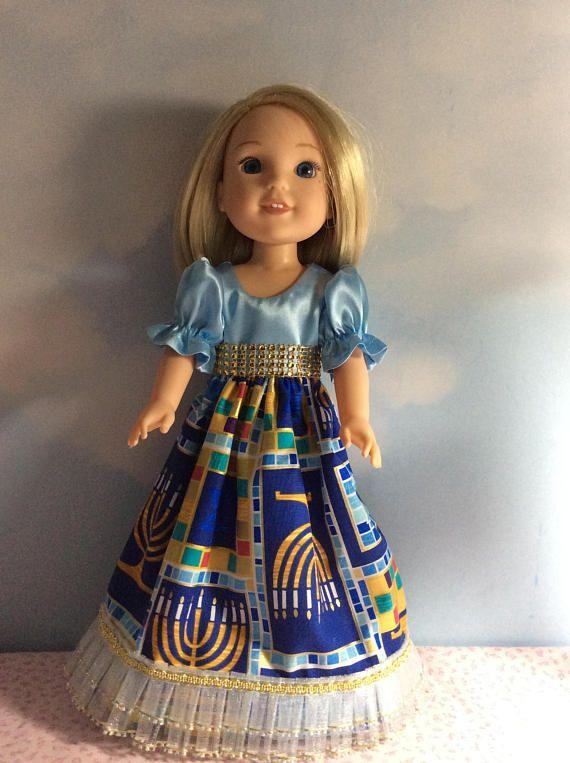 Hanukkah dress fits 14.5 Wellie Wishes doll