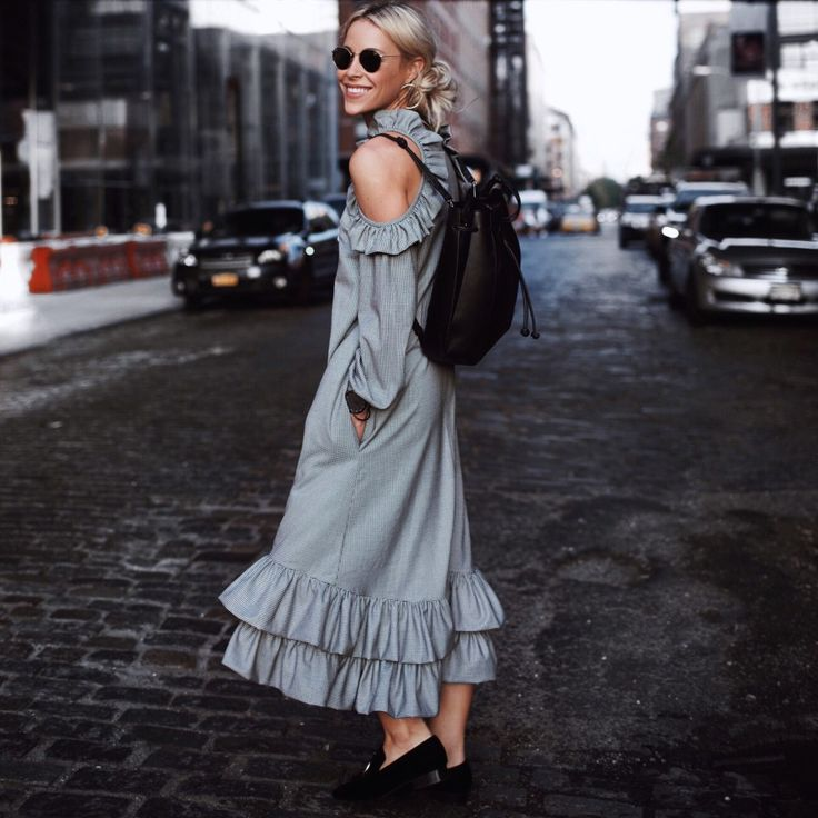 NYFW SS2016 | Happily Grey. Grey cold shoulder ruffled midi dress+black loafers+black backpack+round sunglasses. Fall Outfit 2016