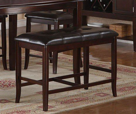 counter height dining bench in deep brown finish ceres home decor