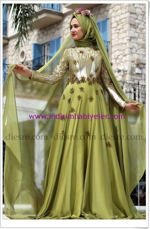Tozlu Giyim fıstık yeşili abiye nişan elbisesi