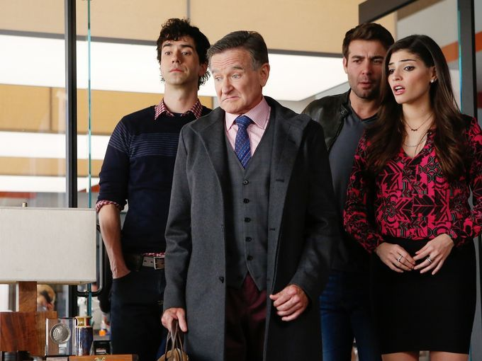 """Hamish Linklater, Williams, James Wolk and Amanda Setton star in the CBS sitcom """"The Crazy Ones"""". #RobinWilliams"""