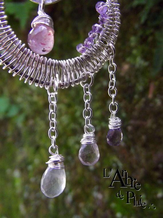 """Collier croissant de lune cuivre améthyste lépidochrosite, cristal de roche -""""Larmes de Persée""""-"""