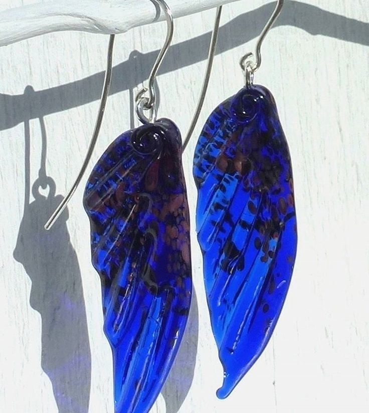 Gorgeous cobalt blue fairy wing earrings now available in my shop www.etsy.com/uk/shop/MaidOfGlassOnEtsy