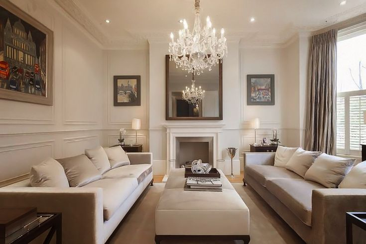 neutral living room, chandelier