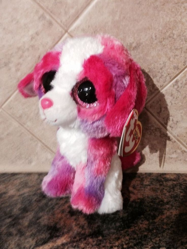 NEW Ty BEANIE BOO 2014 ~ SHERBET THE COLORFUL PUPPY DOG - NEW WITH TAGS - CUTE #Ty