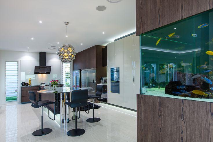 luxury kitchen, modern kitchen design, gloss 2 pack, vzug, vintec, built in fishtank, black rangehood, black glass, minka joinery