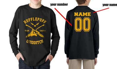 8a9cfadc Customize - New Hufflepuff CHASER Quidditch Team Kid / Youth Long Sleeves  T-shirt tee