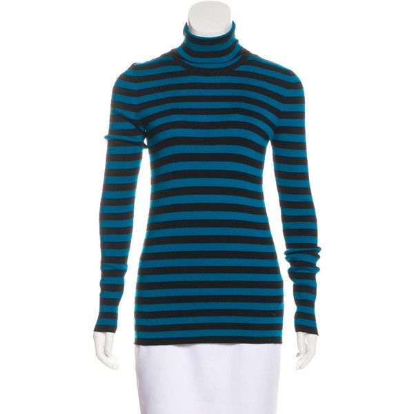 1a4cd9b6e Pre-owned Gucci Striped Turtleneck Sweater (305 CAD) ❤ liked on Polyvore  featuring tops, sweaters, blue, embellished sweaters, blue striped sweater,  ...