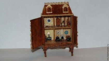 Кукольный дом ручной работы. Ярмарка Мастеров - ручная работа. Купить кукольный домик 1:144. Handmade. Коллекционная миниатюра, шпон