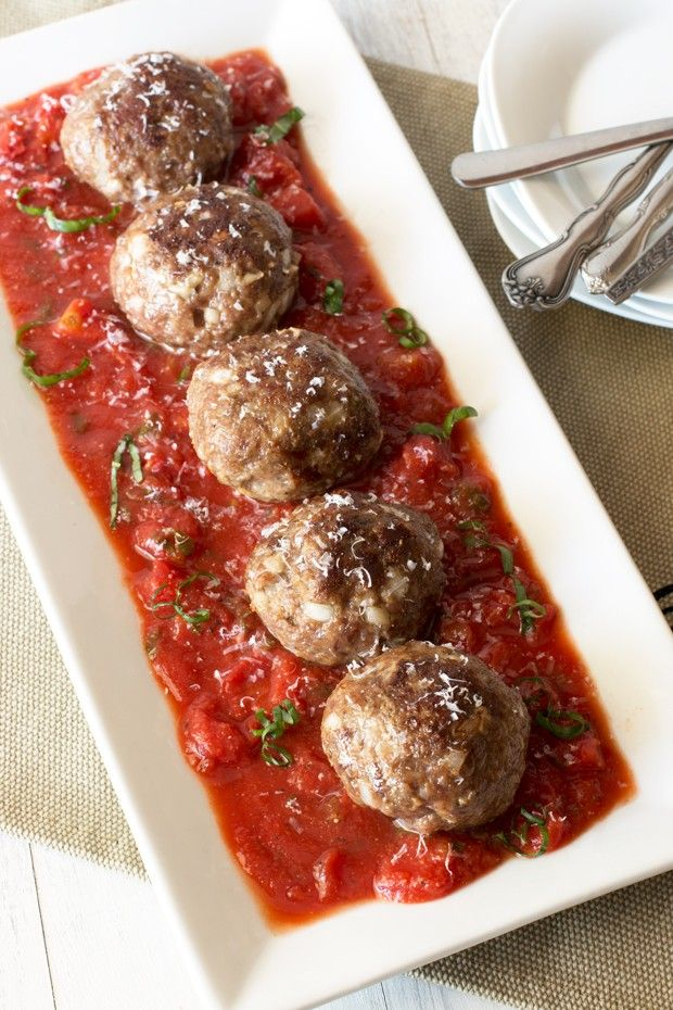 Three Cheese Stuffed Meatballs with Tomato Basil Sauce from @cakenknife
