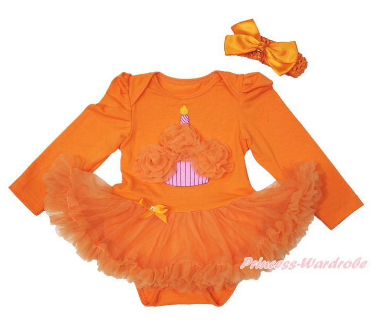 Хэллоуин торт ко дню рождения оранжевый L / S боди девочка платье NB-18Month MAJS0346
