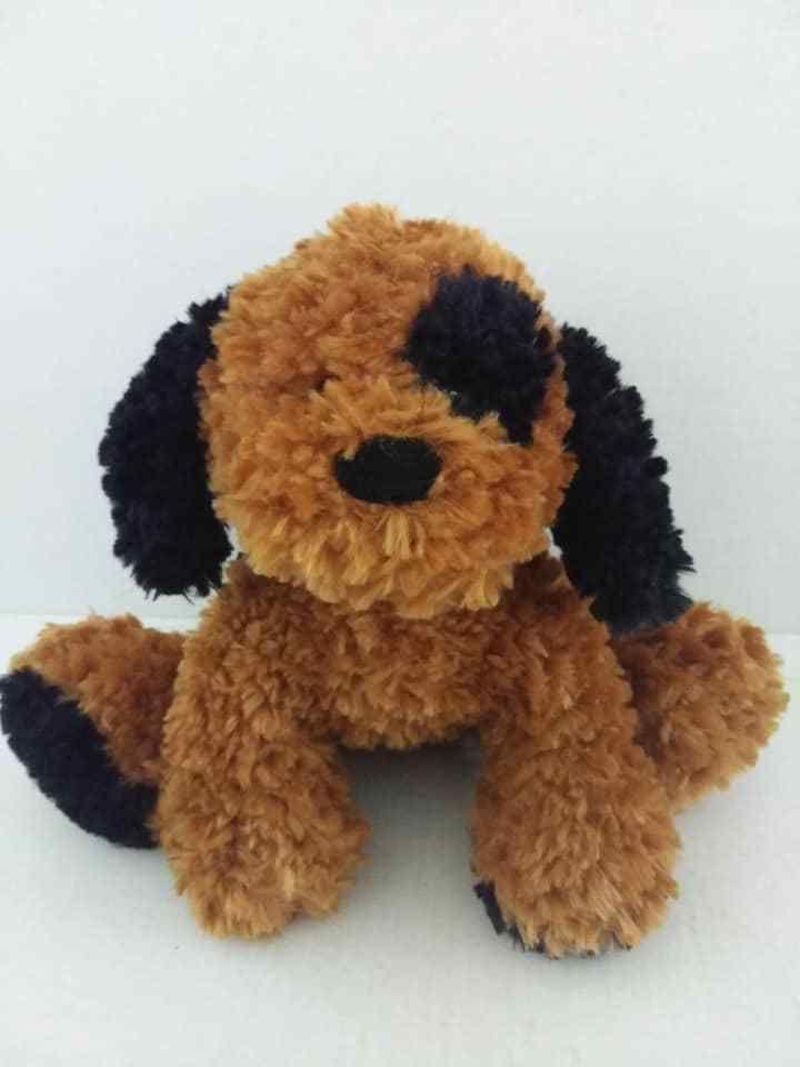 Pier 1 Imports Bailey Puppy Dog Plush Brown Black Spot Stuffed Toy