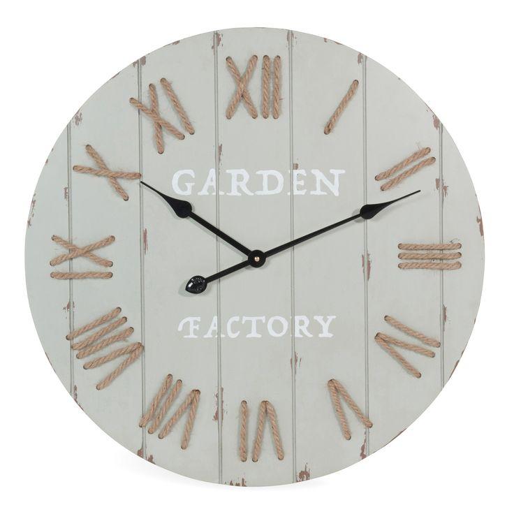 Horloge en bois grise D 60 cm CAMPAGNE