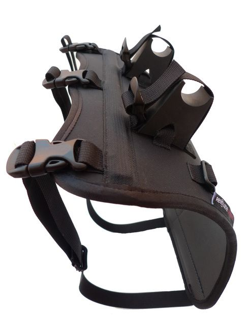 """The Harness is a rigid mount designed to carry drybags, stuff sacks or other cylindrical shaped objects (packrafts...) on your handle bars. Think of the Harness as a """"""""soft"""""""" rack for your handlebars"""