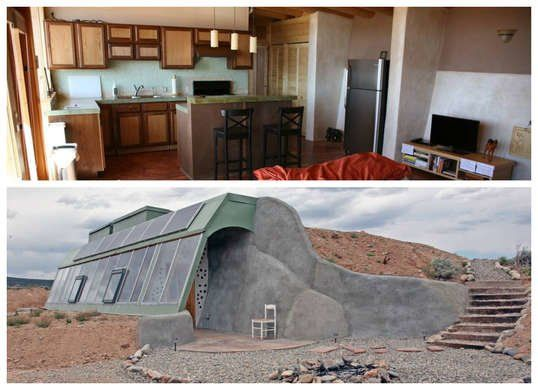 """Earthship"" in Taos, New Mexico Believe it or not, a single pair of human hands built this extraterrestrial-inspired off-grid estate dubbed the ""Earthship."" The three-year-long effort paid off; the well-defined gravel entryway and combination greenhouse/mudroom are simple yet stunning against the surrounding desert mesa."