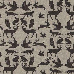 Stretchjersey gråmelerad m djur