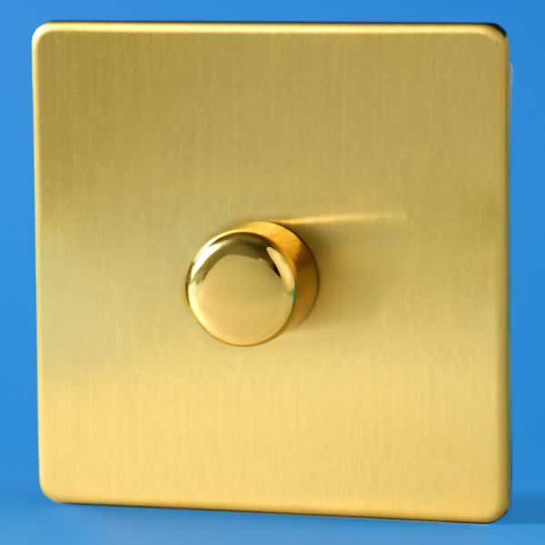 varilight vpro 1 gang 2 way push on off led dimmer light switch screwless brushed brass - Dimmer Light Switch