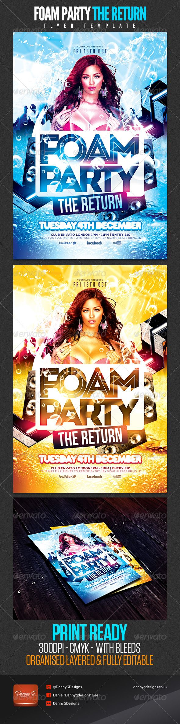 "Foam Party The Return Flyer Template #GraphicRiver Foam Party Flyer Template The download file contains: 2 4×6 print ready .psd files - Original Colour blue - Orange Version Flyer size: 4×6 (4.25×6.25"" with bleeds) Download all fonts used here: .fontsquirrel /fonts/nexa .fontsquirrel /fonts/League-Gothic?q=League+Gothic .dafont /bebas-neue.font fontfabric /intro-free-font/ .dafont /rns-baruta-black.font Print Ready: CMYK, 300 DPI .PSD Layered, very easy to modify. well-..."