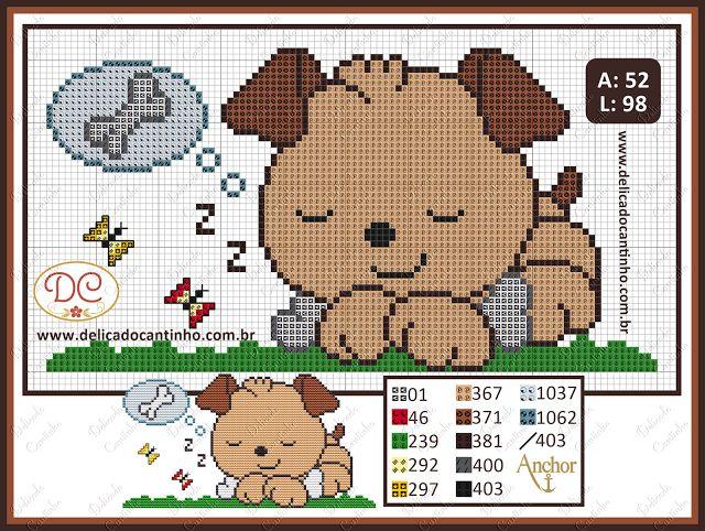 Delicado Cantinho: Gráfico Ponto Cruz Cachorrinho Dorminhoco
