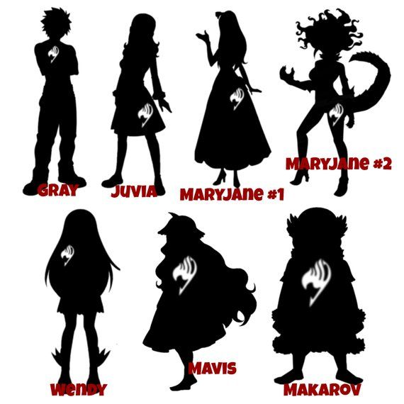 48 Designs Fairy Tail Anime Silhouette Cats And Guild Symbols