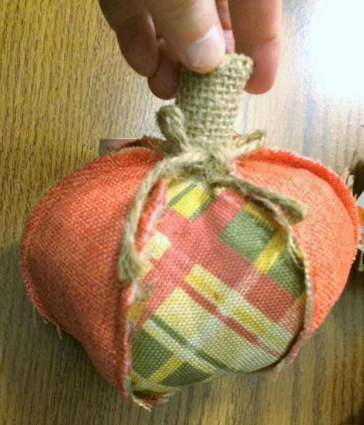 """Cloth Pumkins for the Fall Table (10)Oranges and avacodo Fall Colors 6""""x5""""  #HayStacks"""