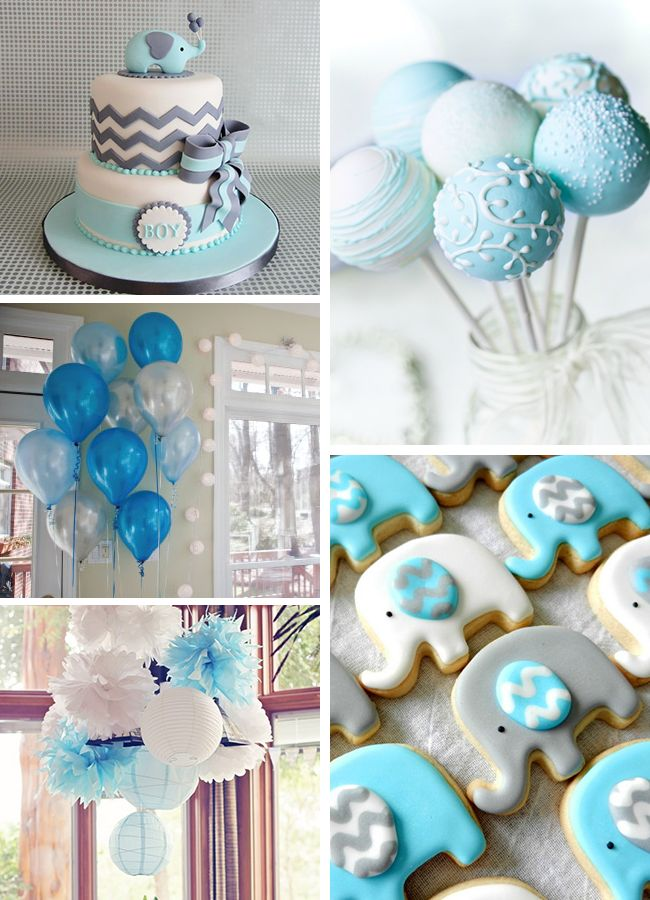 Blue Elephant Baby Shower Ideas Elephant Themeelephant Baby Showersbaby Boy