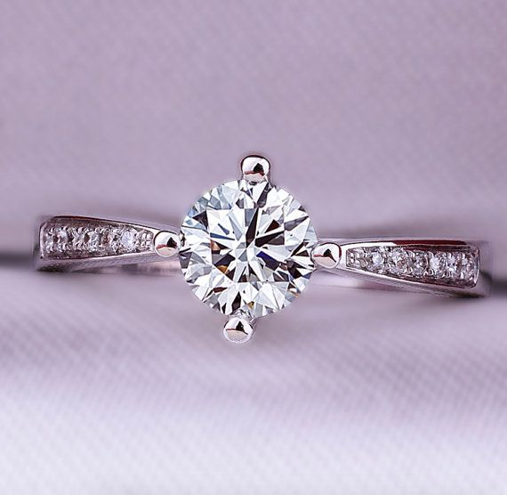 0.5 carat Round Forever One Moissanite by Donatellajewelry on Etsy