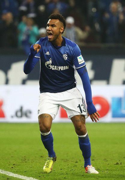 Eric Maxim Choupo-Moting of Schalke 04 celebrates scoring a goal during the Bundesliga match between FC Schalke 04 and SV Darmstadt 98 at Veltins-Arena on November 27, 2016 in Gelsenkirchen, Germany.